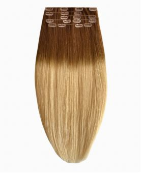 """Clip in Human Hair Extensions 18"""" (Set of 110 gr) Straight - Excellence - Color Tie And Dye 6-22"""
