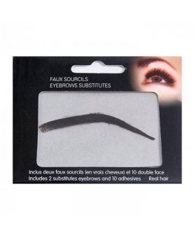 Faux sourcils semi-permanents à coller, 100 % naturel - Brun foncé