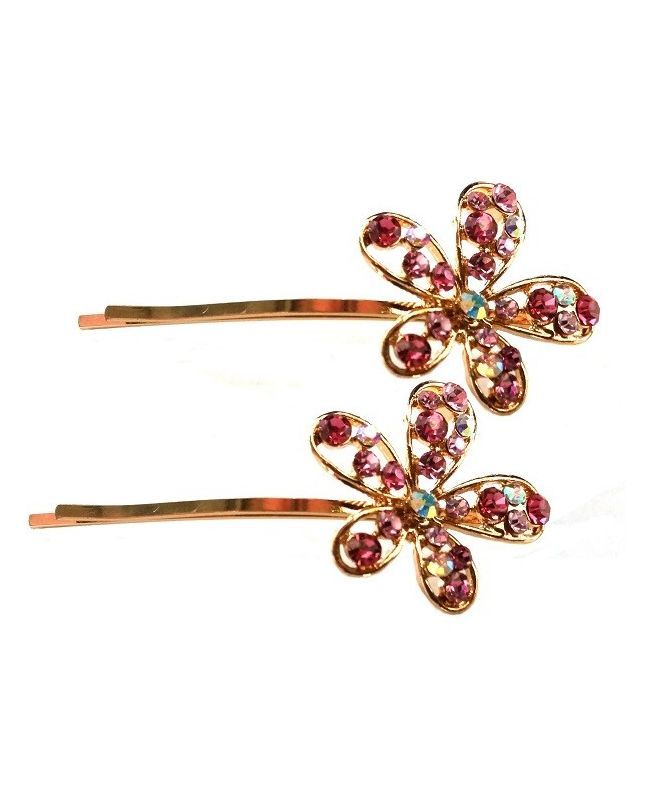 Barrette invisible à fleur strass - Rose - Lot de 2 Barrettes