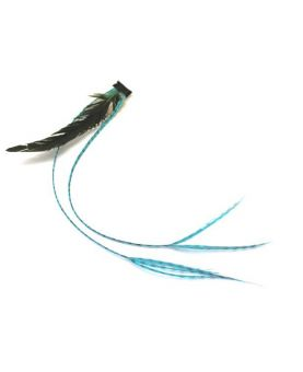 Clip plume crazy flashy color - Bleu turquoise - Extension cheveux
