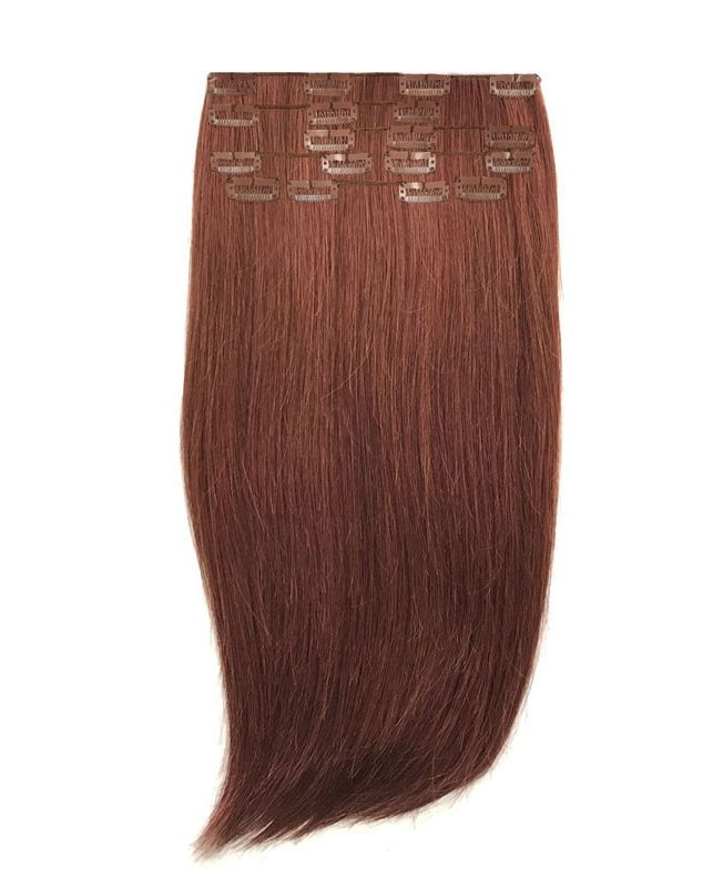 """Clip in Human Hair Extensions 18"""" (Set of 110 gr) Straight - Excellence - Color 33"""
