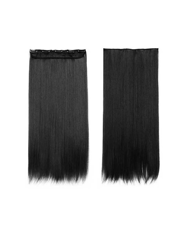 """Mono Clip in Hair Extension 18"""" (Set of 150 gr) Straight - Synthetic Fiber - Color 1"""