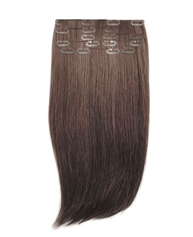 """Clip in Human Hair Extensions 18"""" (Set of 110 gr) Straight - Excellence - Color 2"""