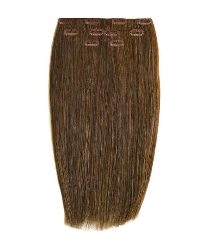"""Clip in Human Hair Extensions 16"""" (Set of 80 gr) Straight - Excellence - Color 6"""