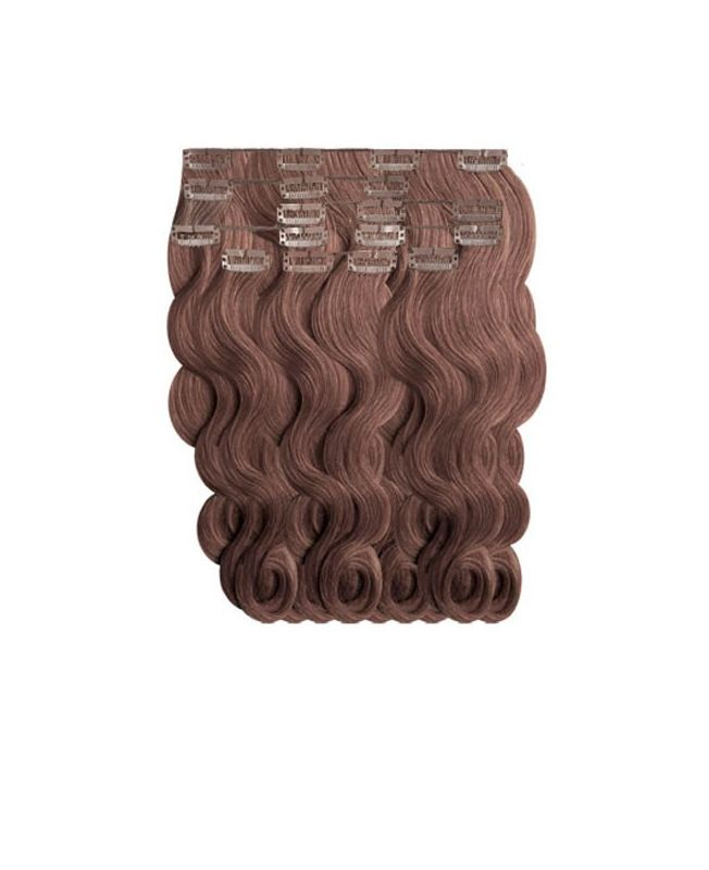 """Clip in Human Hair Extensions 18"""" (Set of 110 gr) Nature Wave - Excellence - Color 6"""