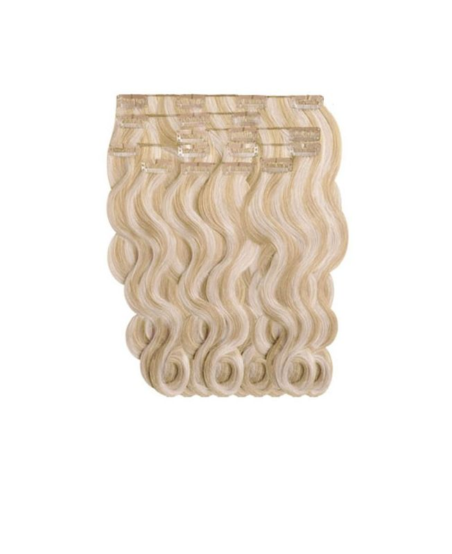 """Clip in Human Hair Extensions 18"""" (Set of 110 gr) Nature Wave - Excellence - Color Highlights 613-14"""