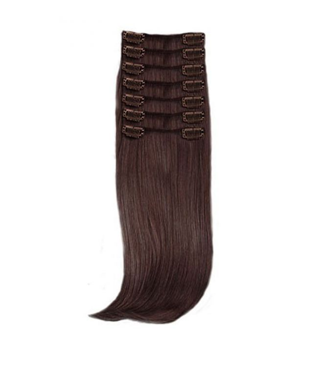 """Clip in Hair Extensions 18"""" (Set of 150 gr) Straight - Synthetic Fiber - Color 2"""