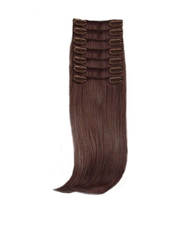 Extension a Clip Lisse - 55 cm - Chatain clair doré N°4 - Fibre professionnelle - Extension  cheveux