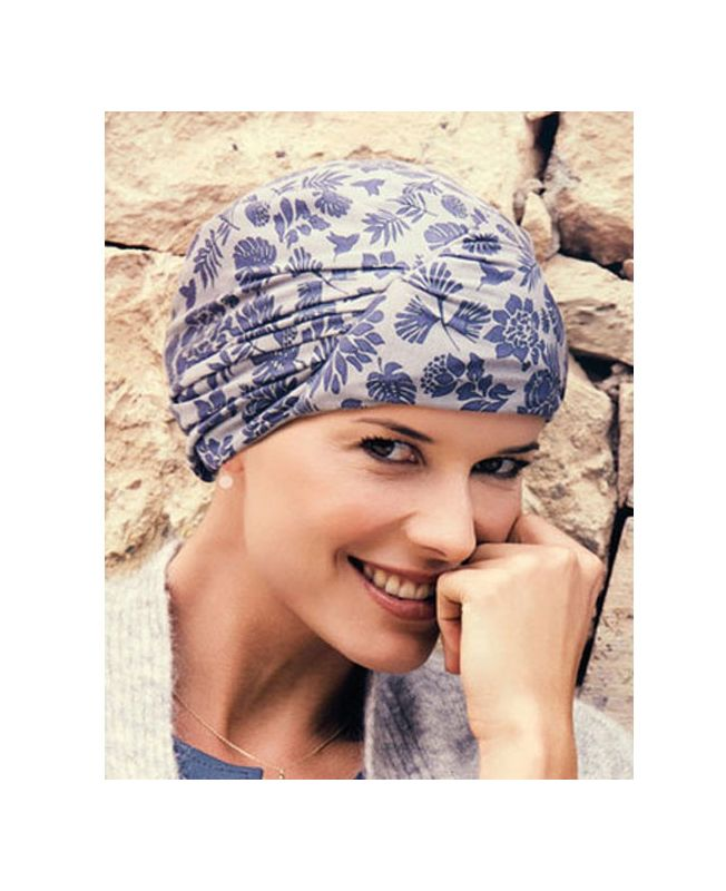 Turban / Foulard pour Chimiothérapie - Meda Cobblestone Blue - Collection MIO by Ellen Wille