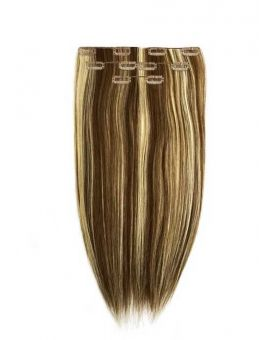 Extension à Clip Naturel 40 cm |  Extension cheveux Lisse - Blond méché doré - N°22/6