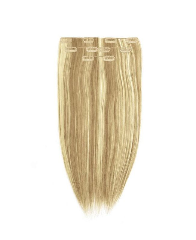 """Clip in Human Hair Extensions 16"""" (Set of 80 gr) Straight - Excellence - Color Highlights 613-14"""
