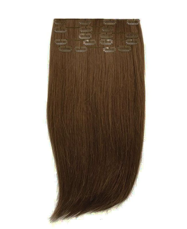 """Clip in Human Hair Extensions 18"""" (Set of 110 gr) Straight - Excellence - Color 8"""