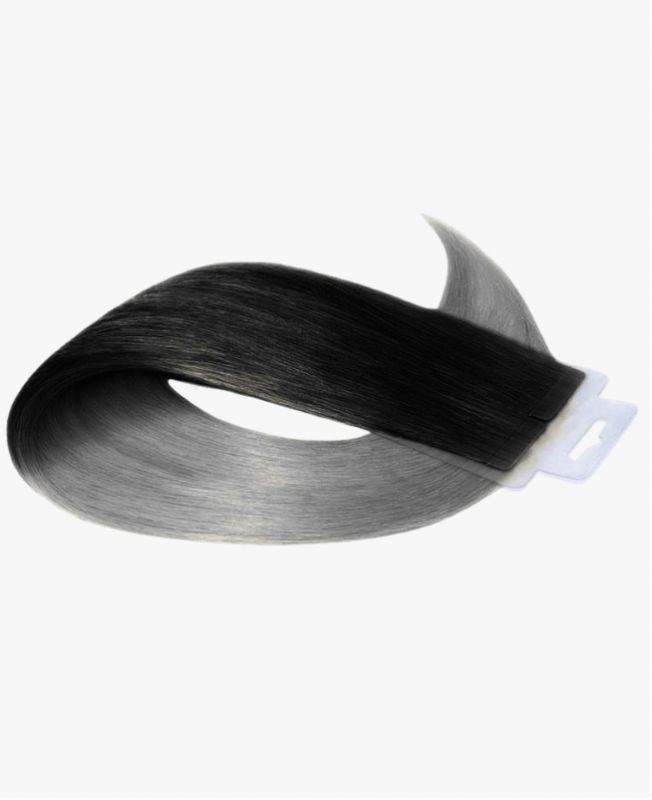 Tape in Remy human Hair Extensions - Straight - Excellence - Color Tie and Dye 1B-Grey